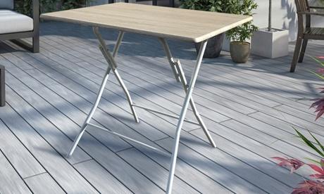 Tavolo pieghevole in acciaio verniciato e top legno rovere, con spedizione gratuita