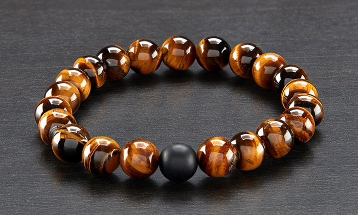 Men S Natural Healing Stone Stretch Bracelet Groupon