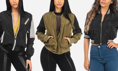 Women's Lightweight Long- or Short-Sleeve Bomber Jacket 46fcbc61-6363-4a74-92cc-63fd484cacb1