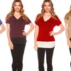 Junior Women's Plus Size Two-Toned V-Neck Top