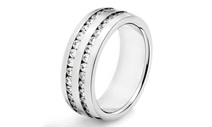 Stainless Steel 2 Row Cubic Zirconia Band for Men and Women