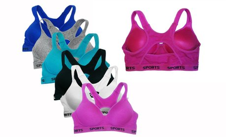 Padded Cotton Sports Bras in Regular and Plus Sizes (6-Pack)