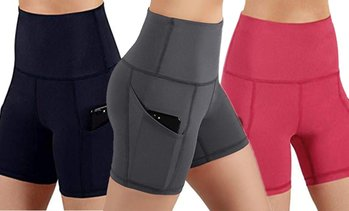 High-Waist Gym Shorts with Pocket