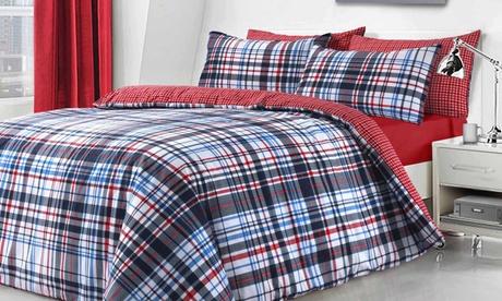 Set de funda nórdica a cuadros con 1 o 2 fundas de almohada