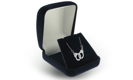 $4.99 for a Custom-Engraved Handcuffs Necklace in Rhodium-Plated Sterling Silver from Jewellshouse ($101.80 Value)