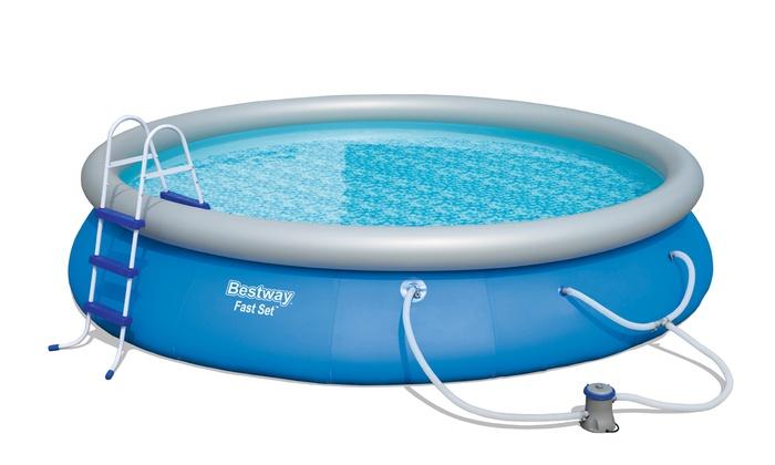 15ft bestway fast set swimming pool groupon. Black Bedroom Furniture Sets. Home Design Ideas