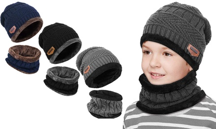 One or Two Kids Knitted Beanie Hat and Circle Scarf Sets