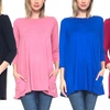 Isaac Liev Women's 3/4 Sleeve Tunic with Pockets