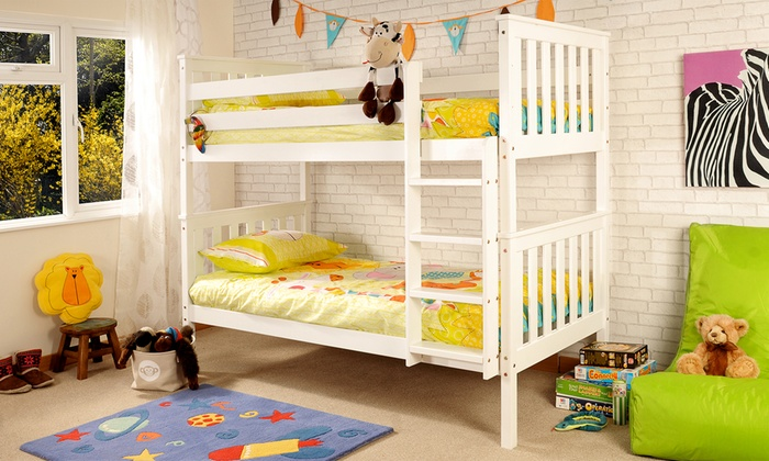 White or Caramel Wooden Shaker Bunk Bed with Optional Mattresses