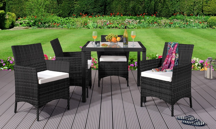 Rattan-Effect Four-Seater Dining Set in Choice of Colour with Optional Cover (£249.98)