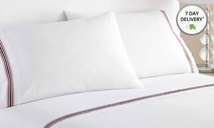 Bellissimo 4-Piece Embroidered 5-Line Marrowing-Hem Sheet Set: Bellissimo 4-Piece Embroidered Marrowing-Hem Sheet Set. Multiple Sizes from $22.99–$29.99. Free Shipping and Returns.