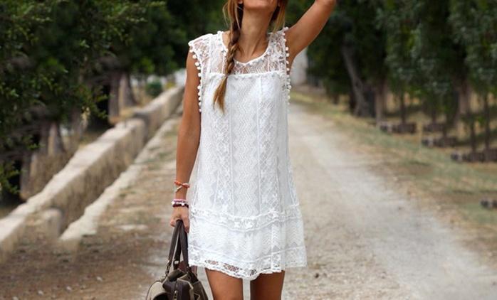 Kleid im Boho-Look aus Spitze in der Farbe nach Wahl