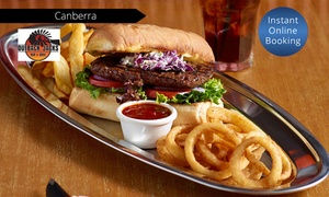 Outback Jacks Bar & Grill: Lunch with Drink - One ($14.50), Four ($58), or Eight ($116) at Outback Jacks Bar & Grill, Canberra (Up to $268 Value)