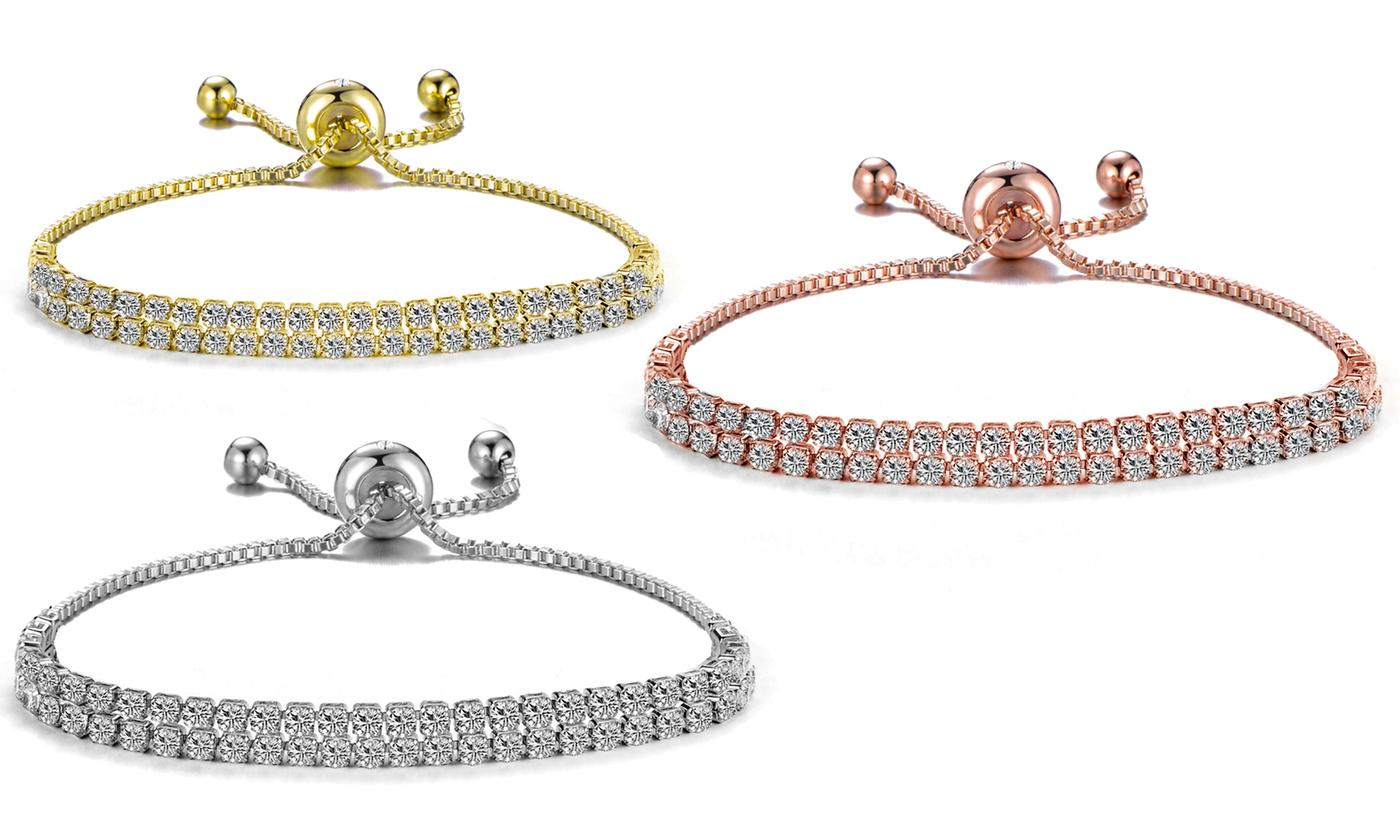 One, Two or Three Philip Jones Double-Row Tennis Friendship Bracelets with Crystals from Swarovski®