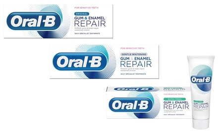 Three or Six Oral-B Gum and Enamel Repair Original, Extra Fresh or Gentle Whitening Toothpastes 75ml
