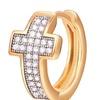 Two-Tone Cross Huggie Hoop Earrings with Swarovski Elements