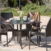 Bessemer Outdoor Cast Aluminum Wicker Dining Set (5-Piece)