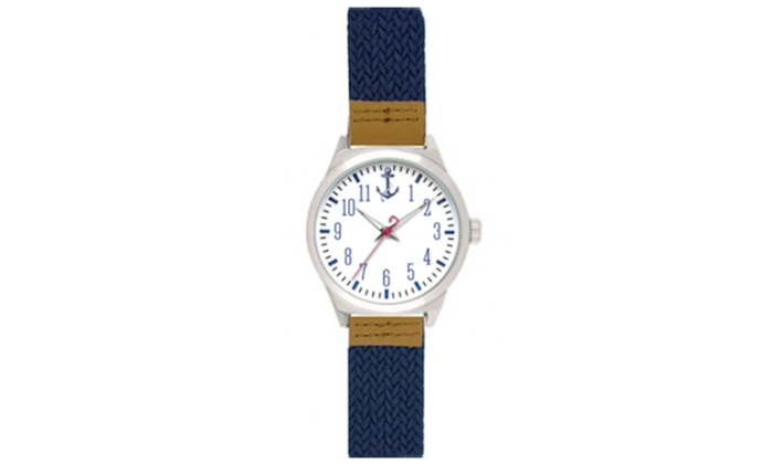 Navy Woven Anchor Dial Watch