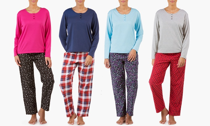 Sociology Women's Knit Henley and Flannel Pant PJ Set   Groupon Exclusive