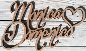Woodener - Scritta in legno personalizzabile: Scritta in legno curvato personalizzabile con 2 nomi e cuore offerto da Woodener (sconto fino a 42%)