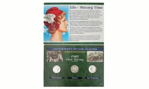 1945 Silver Mercury Dime Set with Protective Case (3-Piece)