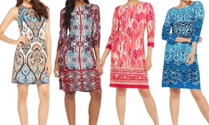 London Times Print Dresses. Plus Size Available