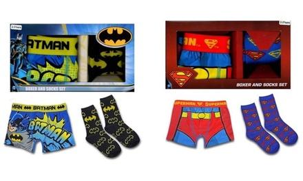 1x oder 2x Superman- und Batman-Geschenkbox mit Boxershorts und Socken für Kinder im Alter von 2-3, 4-5 oder 6-7 Jahren
