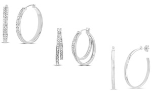 Diamante Diamond Accent Trend Hoop Earrings in Rhodium Plated Brass