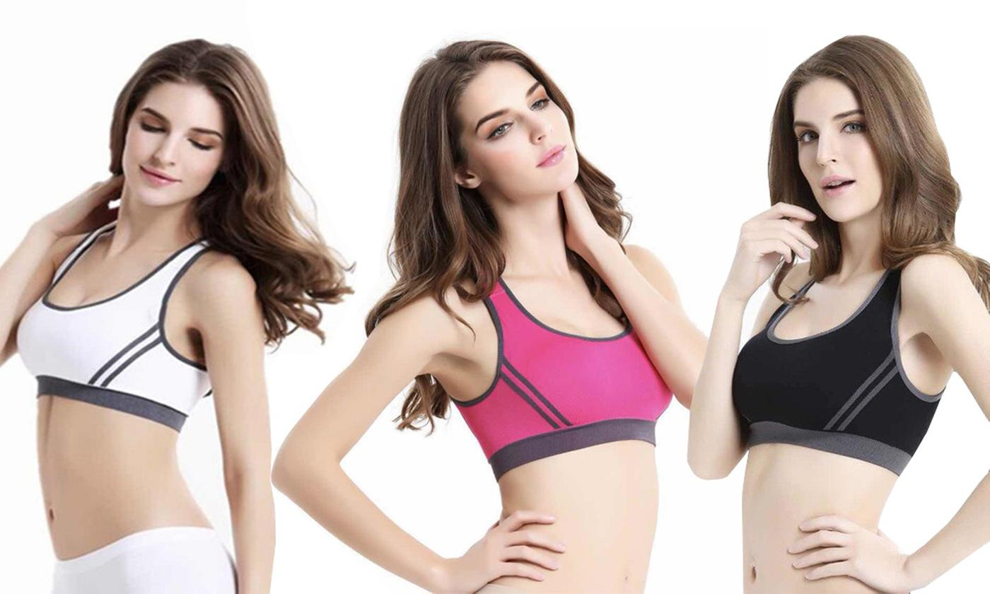 Three-Pack of Seamless Non-Wire Sports Bras