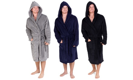 Hooded Coral Fleece Dressing Gown