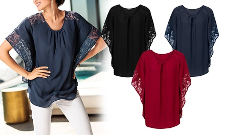 Women's Lace Batwing Sleeve Top: One $15 or Two $25