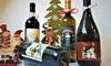 Bottiglia con etichetta natalizia