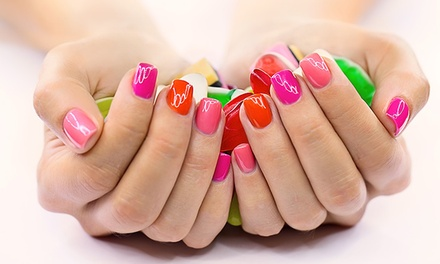 One Gel Mani-Pedi or Vinylux Mani-Pedi with Hot-Stone Massage at Diamond Nails Salon (Up to 53%Off)