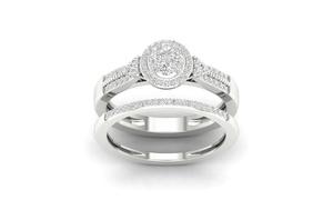1/3 CTTW Diamond Cluster Bridal Set in Silver by De Couer (2-Piece)