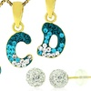 Kids' 14K Gold Initial Pendant and Earrings Set (2-Piece)