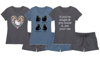 Instant Message: Cute Cat Lady Pajama Set with Shorts