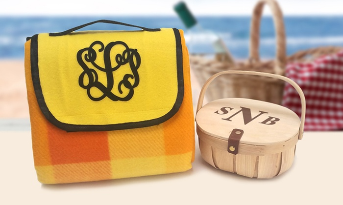 Monogram Online: Personalized Picnic Basket or Blanket or Both from Monogram Online (Up to 53% Off)