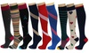 REXX Women's Knee-High Patterned Compression Socks (3-Pack)