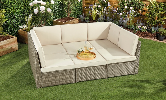 Tuscany Rattan-Effect Six-Section Modular Daybed with Optional Cover from £499.99