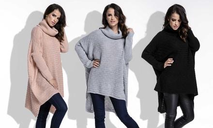 Amourelle modischer Oversize-Pullover Margo mit Rollkragen und langen Ärmeln in der Farbe nach Wahl (Koln)
