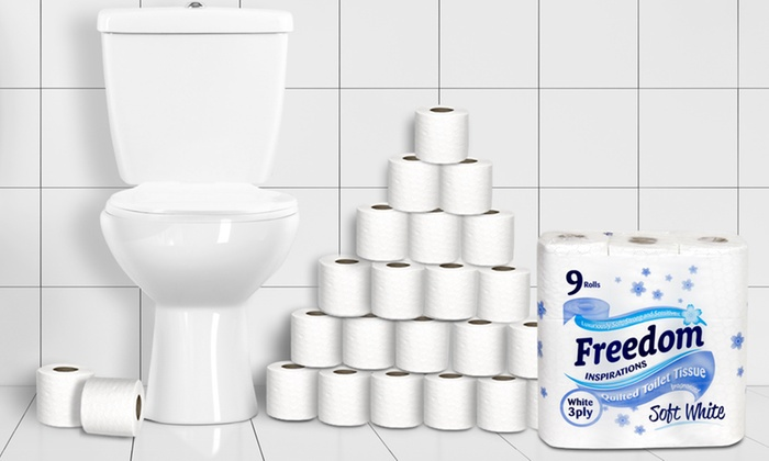 45, 90 or 135 Rolls of Freedom Three-Ply Toilet Paper from £10.98