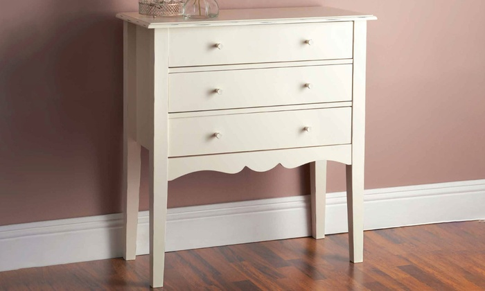 Victoria One or Two Side Tables, Console Table, Chest of Three Drawers or Three-Piece Bedroom Set (£59.99)
