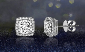 3 44 Cttw Halo Stud Earrings In 18k White Gold Over Sterling Silver Made With Swarovski Elements