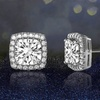3.44 CTTW Halo Stud Earrings Made with Swarovski Elements Elements