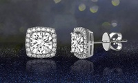 3.44 CTTW Halo Stud Earrings in 18K White Gold over Sterling Silver Made with Swarovski Elements