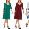 Seranoma Women's Solid or Printed Knee-Length Belt Dress