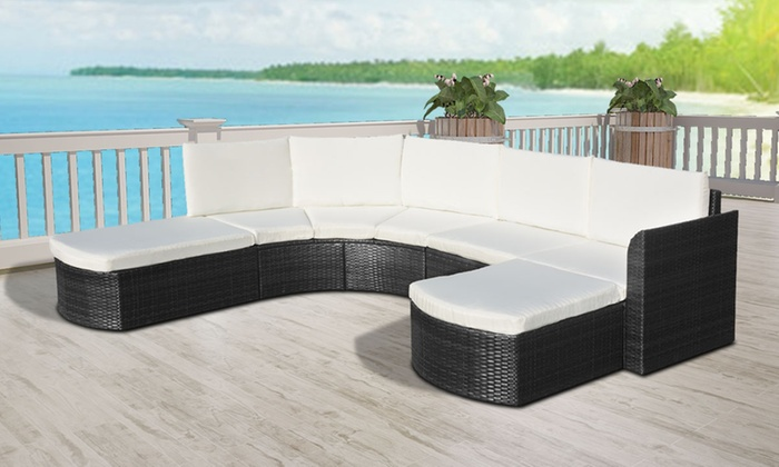salon de jardin en poly rotin groupon. Black Bedroom Furniture Sets. Home Design Ideas