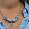 Heart Charm and Murano Glass Bead Necklace