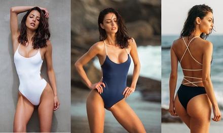 Women's One-Piece Crossed Back Swimwear