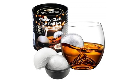 Two Whiskey Glasses with Two Ice Ball Moulds